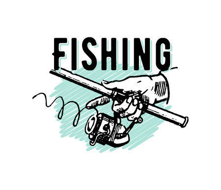 Vector elegant vintage retro Fishing hand drawn illustration isolated on white background