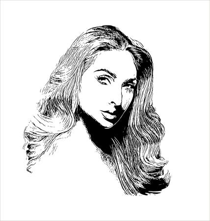 Vector elegant vintage retro woman  wave hairstyle hand drawn illustration isolated on white background Illustration