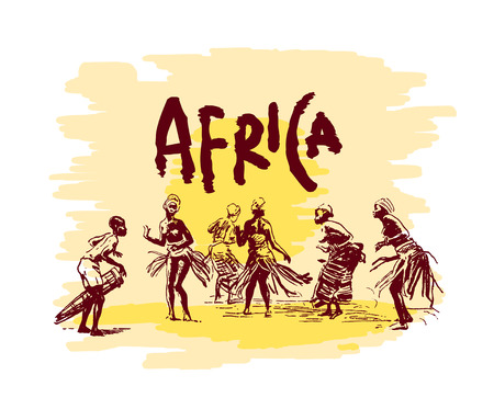 Vector illustration of  Native black skinned ethnical people of Africa tribes and  aborigine.