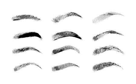 Formas de cejas. Varios tipos de cejas. Tipo clásico y otros. Guarnición. Ilustración de vector con diferente grosor de cejas. Consejos de maquillaje.