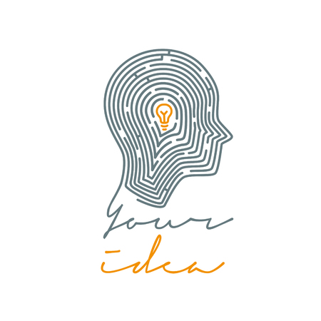 Idea concept illustration. Maze in the shape of a human. Vector illustration