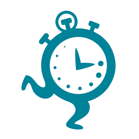 Cartoon clock running vector illustration on white background Çizim