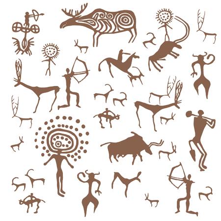 Satz von Vektorsteinzeit-Felszeichnungen antiker Kunstillustration