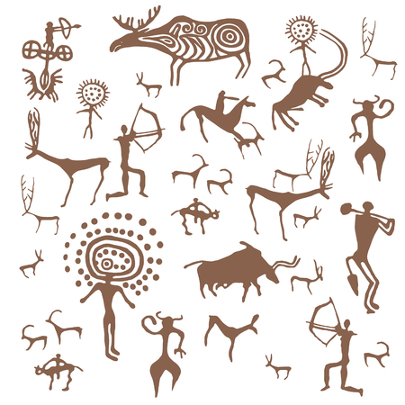 Set of vector stone age rock drawings ancient art illustration