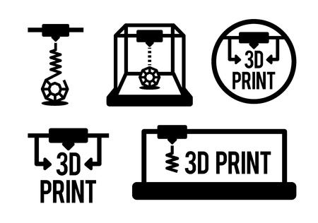 Vector illustration of 3d printing process