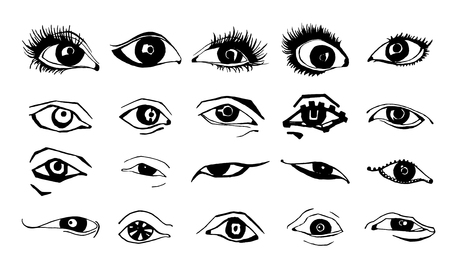 Beautiful woman eyes vector ink drawing.  illustration. Black white Set. Banque d'images - 118009432