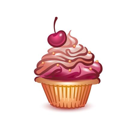 Vektorillustrationskonzept der bunten grafischen Cupcakeikone auf weißem Hintergrund