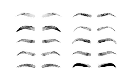 Eyebrow shapes. Various types of eyebrows. Classic type and other. Trimming. Vector illustration with different thickness of brows. Makeup tips. Иллюстрация