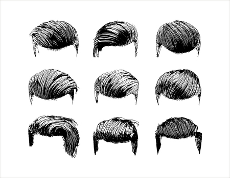 Vector hand drawn man hairstyle silhouettes illustration on white background Vecteurs