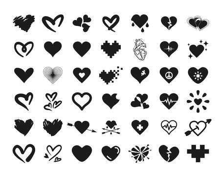 Vector illustration concept of 42 simply heart set.