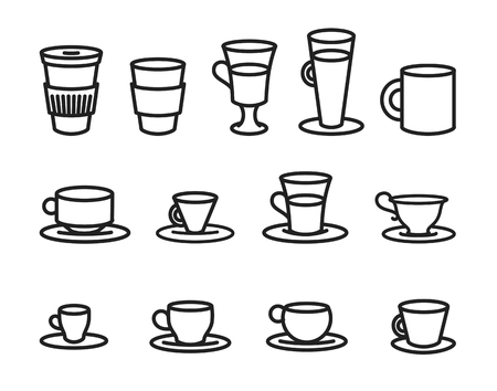 Vector illustration concept of Coffee cup line sketch icon .
