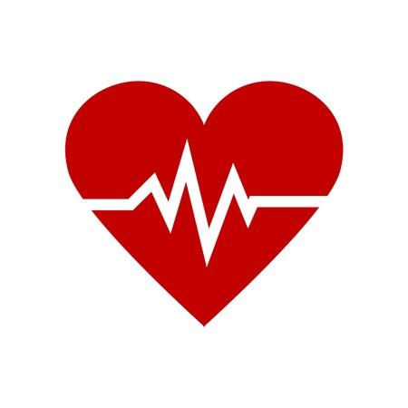 Pulse Red Heart icon minimalism illustration medicine symbol