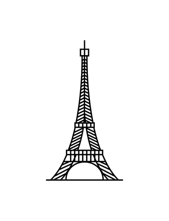 Eiffel tower black on a white background illustration Illustration