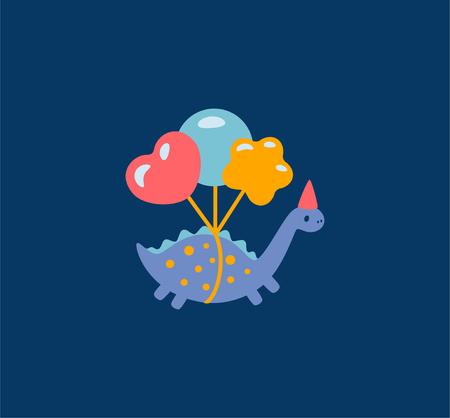 Funny cartoon dinosaurs with balloons illustration icon. Vector illustration