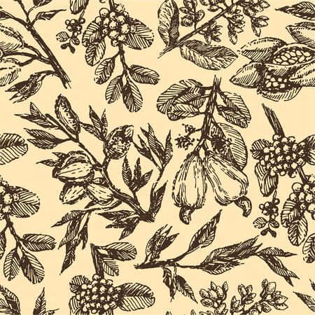 Branch with pistachio nuts, cocoa beans, almonds, cashew nuts and coffee beans plant hand draw illustration sketch. Seamless pattern