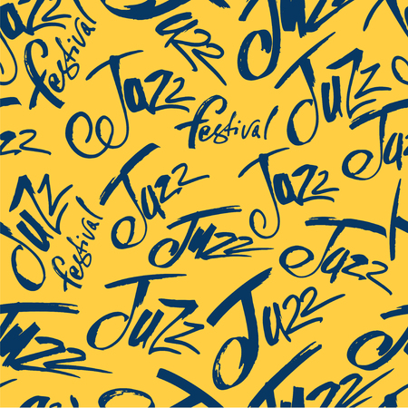 Jazz. Brush pen lettering seamless pattern. Vector ink inscription. Calligraphy modern style. Music poster. Perfect for music events, jazz concerts