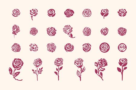 Vector hand drawn rose symbol simple sketch illustration