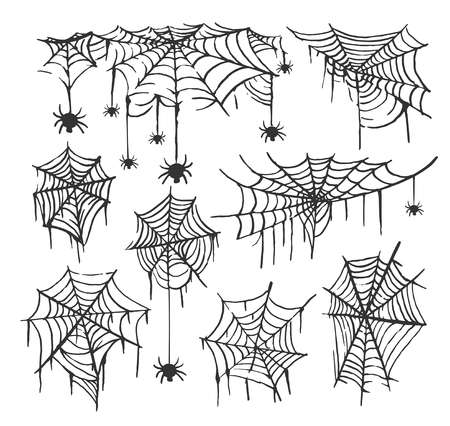 Collection of Cobweb isolated transparent background. Spiderweb for Halloween design. Spider web elements spooky scary horror halloween decor. Hand drawn silhouette vector illustration Çizim