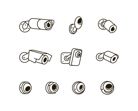 Surveillance CCTV security camera vector icon illustration isolated