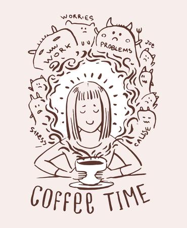 Illustration d'impression de dessin animé de dépendance au café. Fille buvant une tasse de café et oubliant le stress