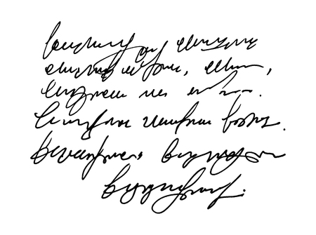 Vector hand drawn Template old vintage text. Unreadable I illegible handwriting.
