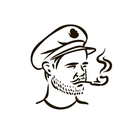 Hand Drawn vintage hipster sailor with thick beard and pipe Vecteurs