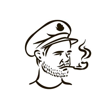 Handgezeichneter Vintage Hipster Seemann mit dickem Bart und Pfeife Vektorgrafik