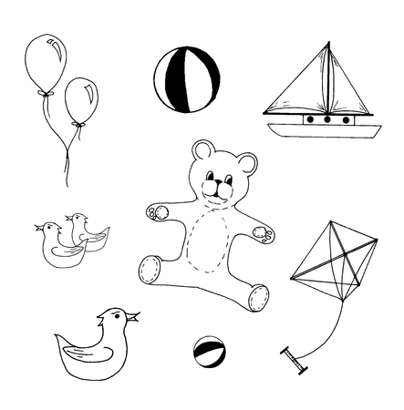 Hand drawn vector illustration of kids toys on white background