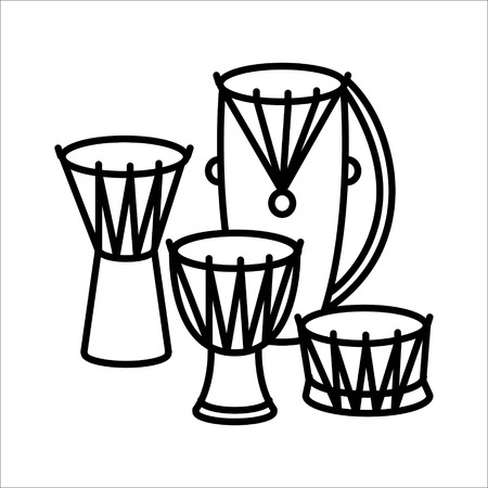 Ethnic Drums music instrument icon vector illustration