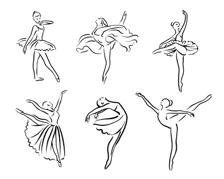 Artistic hand drawn pictures set of theatre theme. Ballerinas dancing. Ballerina dancer with tutu 向量圖像