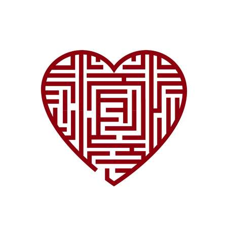 Vector illustration concept of Heart labyrinth Maze.