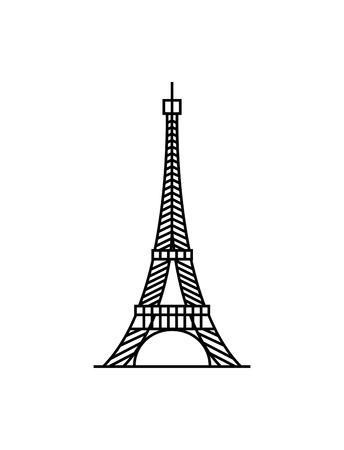 Eiffel tower black on a white background illustration 일러스트