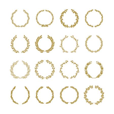 Gold laurel foliage wreath vector illustration set on white backgroun Vectores