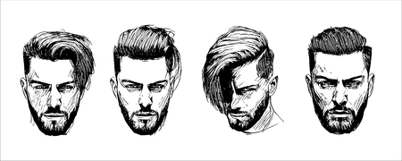 Vector hand drawn man hairstyle silhouettes illustration Иллюстрация