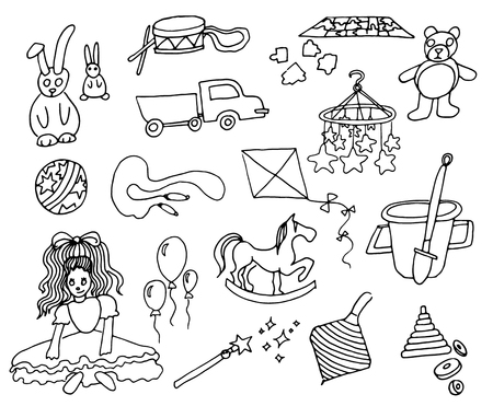 Hand drawn vector illustration of kids toys on white background Stock Vector - 124462264
