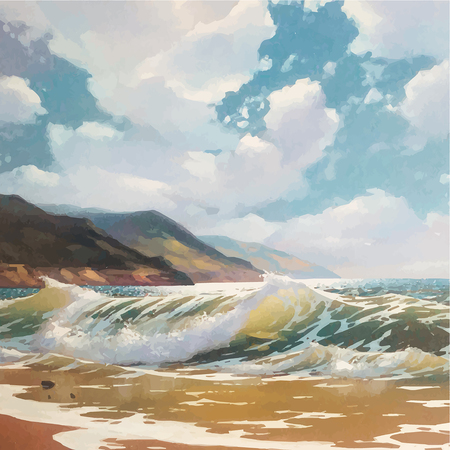Original vector oil painting of sea and beach on canvas. Rich golden Sun over sea. Modern Realism Impressionism. Black Sea coast near Yalta.