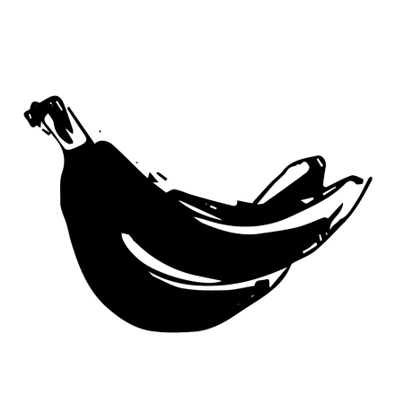 Vector hand drawn black color sketch of banana on white background Vettoriali