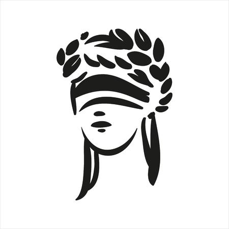 Sitzendes Symbol der Gerechtigkeit Themis Vektorlinie Kunstillustration auf weißem Hintergrund