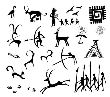 Set of vector stone age rock drawings ancient art illustration isolated on white background.