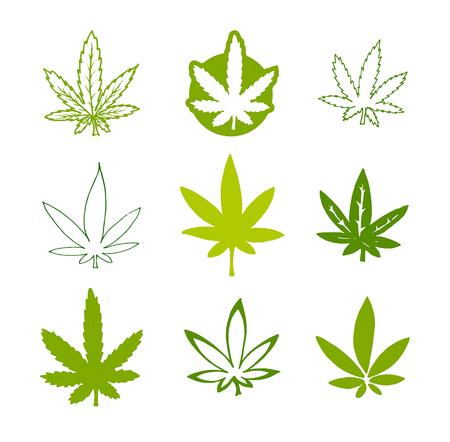 Vector hand drawn icon illustration set of green hemp cannabis leaf