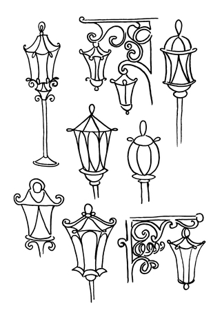 Hand drawn doodle city street lantern set. Ink vector illustration Иллюстрация