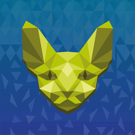 Vector illustration concept of polygonal sphinx. Color on white background