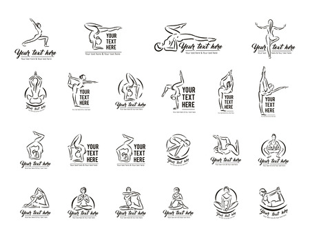 Woman yoga silhouette symbol icon illustration set in line style