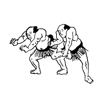 Hand drawn illustration of sumo man wrestlers fight on white background Vettoriali