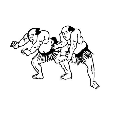 Illustrazione disegnata a mano di lottatori di sumo uomo combattono su sfondo bianco