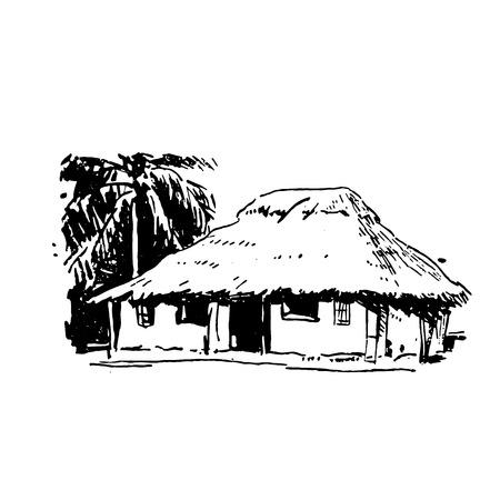 Schizzo disegnato a mano della casa del villaggio africano nero su sfondo bianco