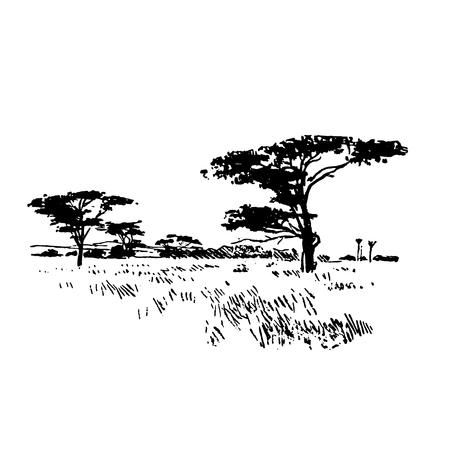 Paesaggio della natura di safari africano disegnato a mano nero su sfondo bianco Vettoriali