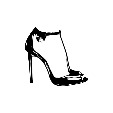 Vector woman feet in high heels icon illustration. Foot symbol on white background Vektorové ilustrace