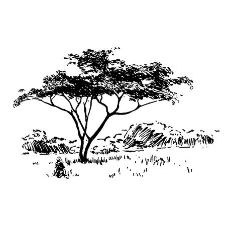 Handgezeichnete afrikanische Safari-Naturlandschaft schwarz auf weißem Hintergrund Vektorgrafik