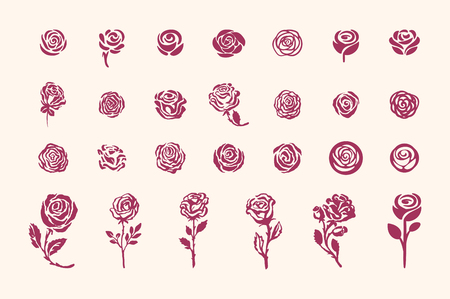 Vector hand drawn rose symbol simple sketch illustration on light background Illustration